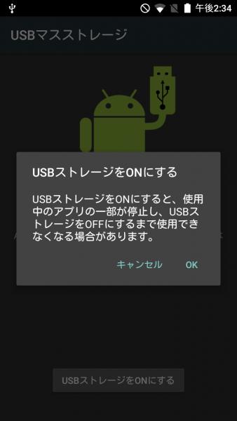 USBストレージをONにする